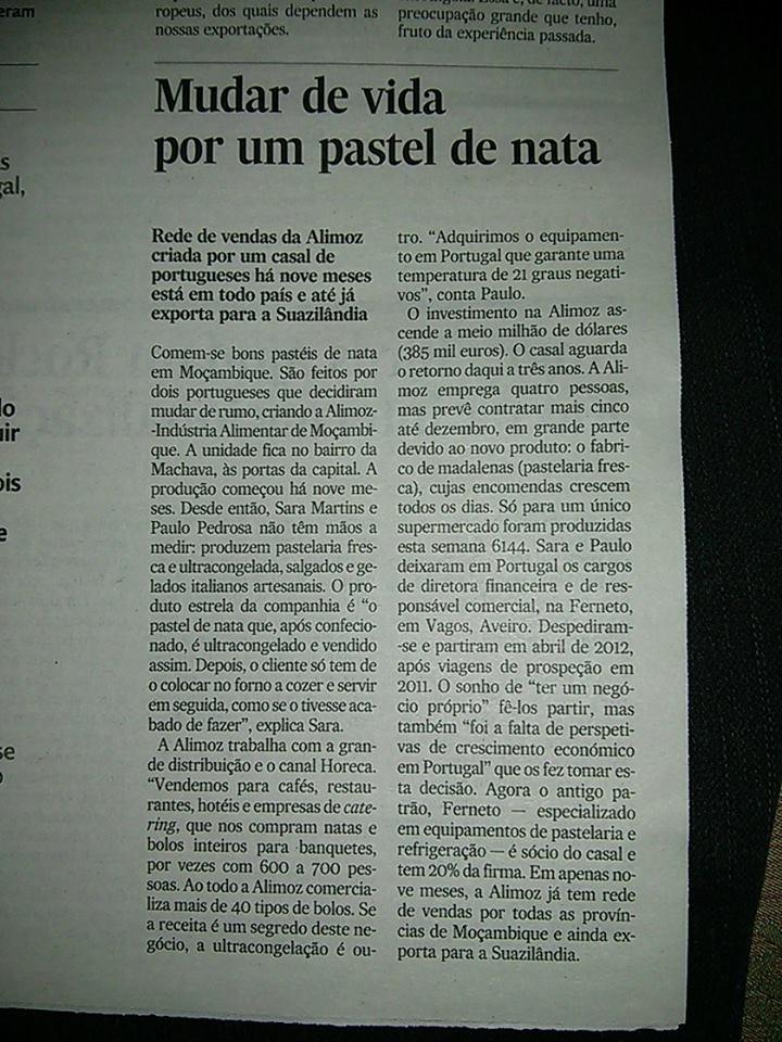 """Alimoz: """"Mudar de vida por um pastel de nata"""" / Notícia Jornal Expresso"""